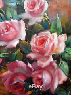 Antique Painting Bouquet of Roses with Fan Oil On Canvas Original Old Vintage