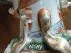 Antique Pair Chinese Hand Painted Court 19th c. Porcelain FAMILLE ROSE Vases