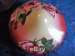 Antique Pairpoint Lamp Beautiful bulbous rose painted shade. 19 high with shade