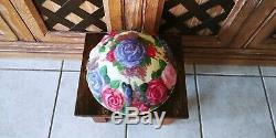 Antique Pairpoint Puffy Reverse Hand Painted Lamp Shade Light Butterflies Rose