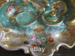 Antique Paris Porcelain France Hand Painted Inkwell Inkstand Gold Roses Flowers