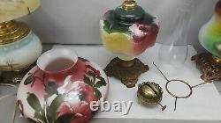 Antique Parlor Oil Lamp Hand Painted Roses GWTW 10 Shade