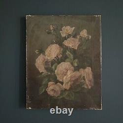 Antique Pink Roses Still Life Oil on Canvas Romanticism