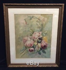 Antique Pink Roses Still Life Watercolor Painting Newcomb Macklin Style Frame