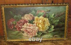 Antique Pink & Yellow Roses Bees Oil Painting On Board Gold Gesso Wooden Frame