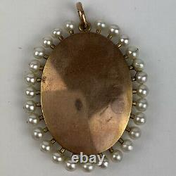 Antique Portrait Miniature Of A Lady 14ct Rose Gold (Tested) And Pearl Mount
