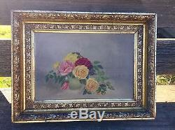 Antique ROSE OIL PAINTING ROSES Original Antique Gilt Frame