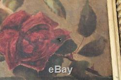 Antique ROSE Oil PAINTING Pink & Red ROSES Gold Gesso FrameSigned Dated 1888