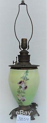 Antique ROSES Hand Painted FLOWERS Brass Oil Accent Electric Table Lamp 3854
