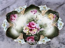 Antique RS Germany Lily Mold Hand Painted Roses Porcelain Bowl Dish Plate Handle