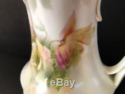 Antique RS Prussia Hand Painted Tea Coffee Pot Floral Roses Red Mark