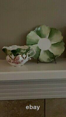 Antique RS Prussia handprinted Cabbage leaf, Roses Gilded cup/saucer