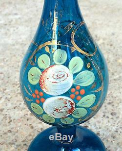 Antique Rare Hand Painted Islamic Ottoman Blue Glass Rose Water Sprinkler- Top