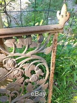 Antique Rare Heavy Cast Iron Gate Fence Panel Part Rose Painted Victorian Old