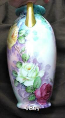 Antique Red Pink Yellow Roses Flowers Hand Painted Porcelain Vase 1939 French