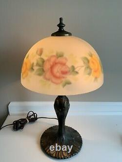 Antique Reverse Painted Glass Lamp Roses With Cast Iron 17.5 Tall