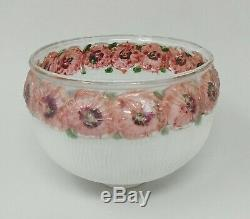 Antique Ribbed Frosted Reverse Painted Lamp Shade White Pink Rose Floral 6 x 5