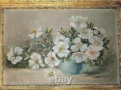 Antique Roses Flowers Oil Painting in Ornate Frame Some damage to Frame