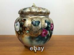 Antique Royal Kinran Nippon Hand Painted Roses Pink, Yellow & Gold Biscuit Jar