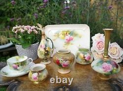 Antique Royal Worcester Hand painted Hadley Style Roses Vase