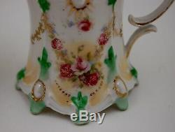 Antique Rs Prussia Hand Painted Roses Sugar & Creamer Set