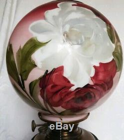 Antique SUCCESS GWTW HAND PAINTED ROSES OIL LAMP CONVERTED 21,5