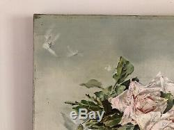 Antique Signed 1904 Rose Oil Painting On Canvas