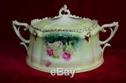 Antique Signed Rs Prussia Covered Bowl, Hand Painted-hydrangeas & Roses