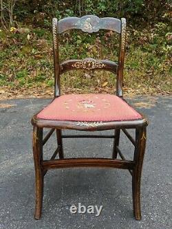 Antique Solid Wood Victorian Chair withHand-painted Roses & Embroidered Upholstery