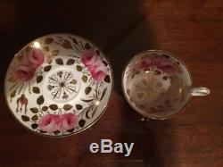 Antique Spode Copelands c 1800s Hand Painted Roses Gilded Tea Cup & Saucer 3886