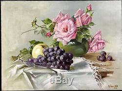 Antique Still Life Oil Painting'roses & Frutes' Created In 1909 Magnificent