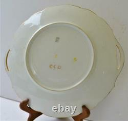 Antique T&V LIMOGES France Hand Painted Pink Yellow ROSES 10d Handled Plate