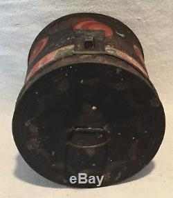 Antique TOLEWARE PAINTED TIN BOX SPICE BOX Early NH Estate RED ROSES