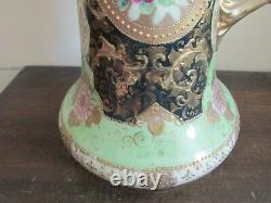 Antique Unmarked Nippon Japan Hand Painted Tankard Moriage Gold Green Roses 13