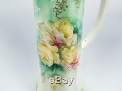 Antique Unsigned Ornate Painted Gilt Roses Porcelain Tall Pitcher Tankard, 13.5