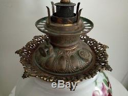 Antique VICTORIAN Era Gone with the Wind Oil LampHand Painted RosesConverted