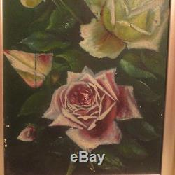 Antique VICTORIAN PINK & Yellow ROSES Oil on Board GOLD Frame Signed c. 1901 Art
