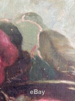 Antique VIctorian Pink Rose Roses Oil Painting Old Estate Signed I Kennedy 1913