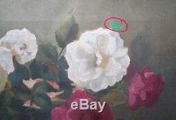 Antique Very Old Victorian French School Oil Painting on Canvas Still Life Roses