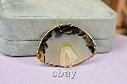 Antique Victorian 9K rose gold large natural picture agate bracelet as is