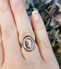 Antique Victorian 9ct Rose Gold Hand Painted Enamel Porcelain Lady Ring Size N