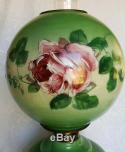 Antique Victorian Banquet Oil Lamp Hand Painted Roses GWTW PITTSBURGH P&A 246 PG