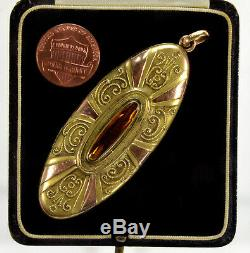 Antique Victorian Big Oval Locket Rose Yellow Gold Filled 2-picture C. 1890