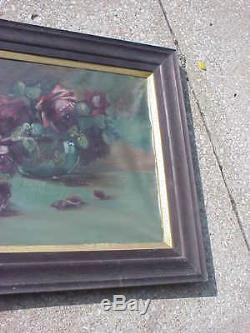 Antique Victorian Deep Red Roses Clear Bowl Floral Oil Painting Orig Frame 1890s