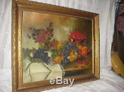 Antique Victorian Floral Red Roses Cherries Fruit Still Life Oil Painting Old