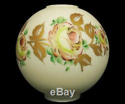 Antique Victorian GWTW Roses Gold Hand Painted Ball Globe Parlor Oil Lamp Shade