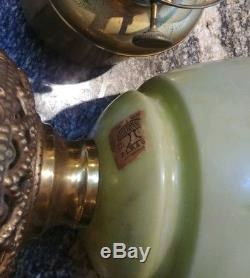 Antique Victorian Hand Painted Pink Roses Gwtw Oil Banquet Lamp Success Plb&co