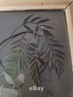 Antique Victorian Oil Painting Yellow Roses Bamboo Branches Lilacs 17.5×21.75