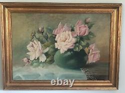 Antique Victorian Pink Rose Floral Still Life Oil Painting Old Signed Kundert