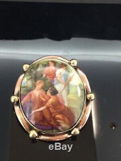 Antique Victorian Portrait Brooch Pin Rose Rolled Gold Framed oil painted lovely